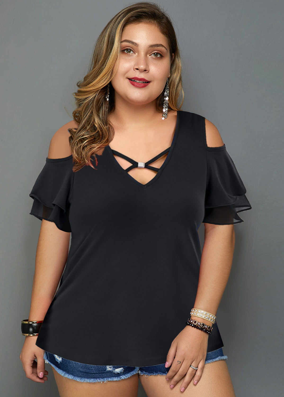 ROTITA Cold Shoulder Cross Strap Plus Size T Shirt