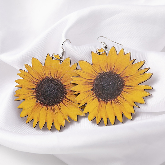 Sunflower Detail Wooden Design Yellow Earring Set