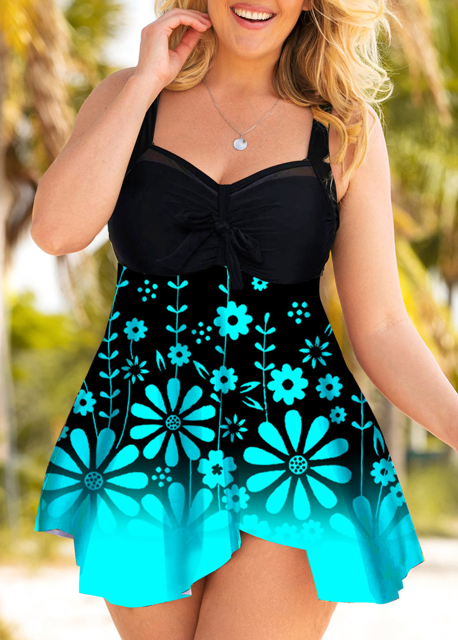ROTITA Floral Print Ombre Plus Size Swimdress and Panty