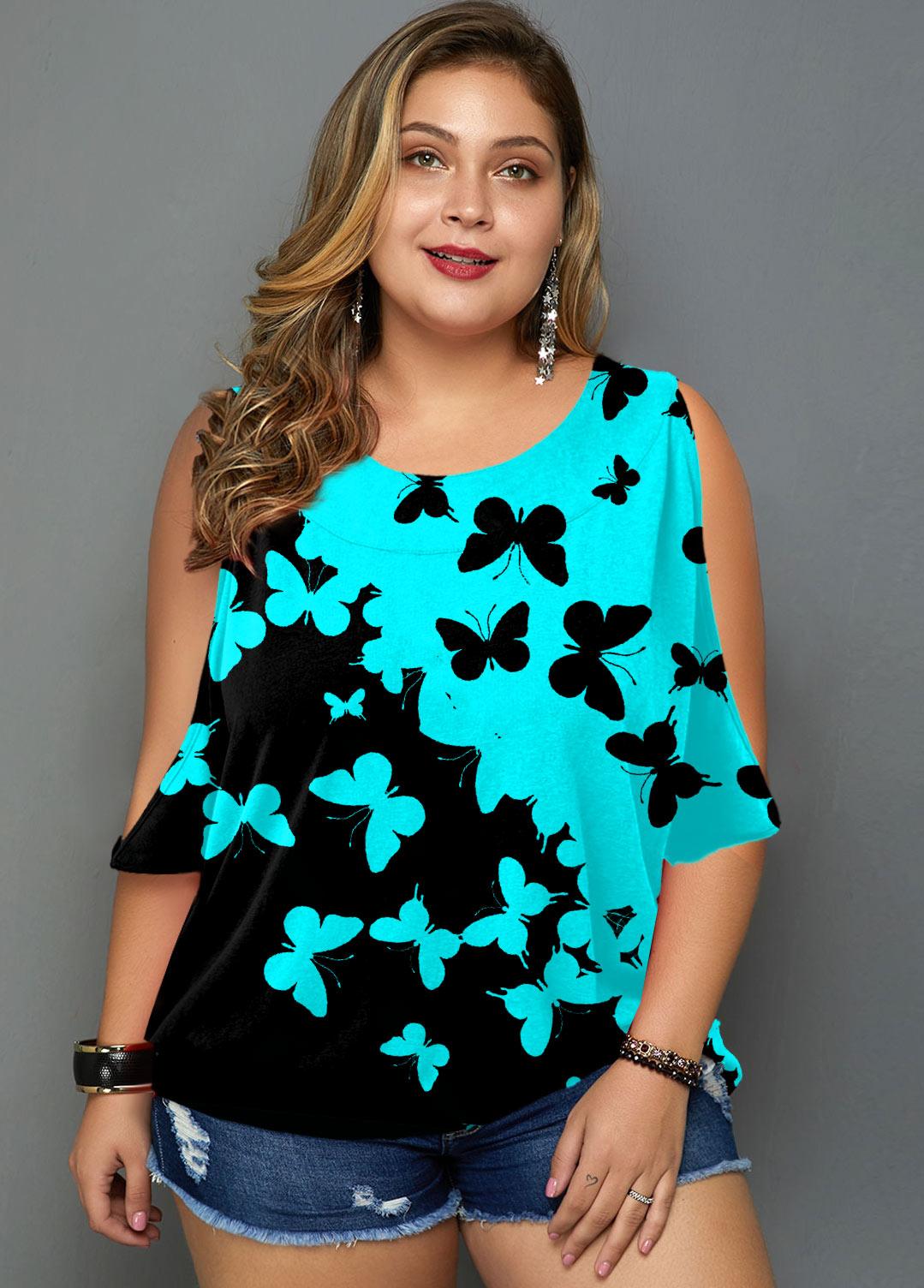 ROTITA Cutout Sleeve Butterfly Print Plus Size T Shirt