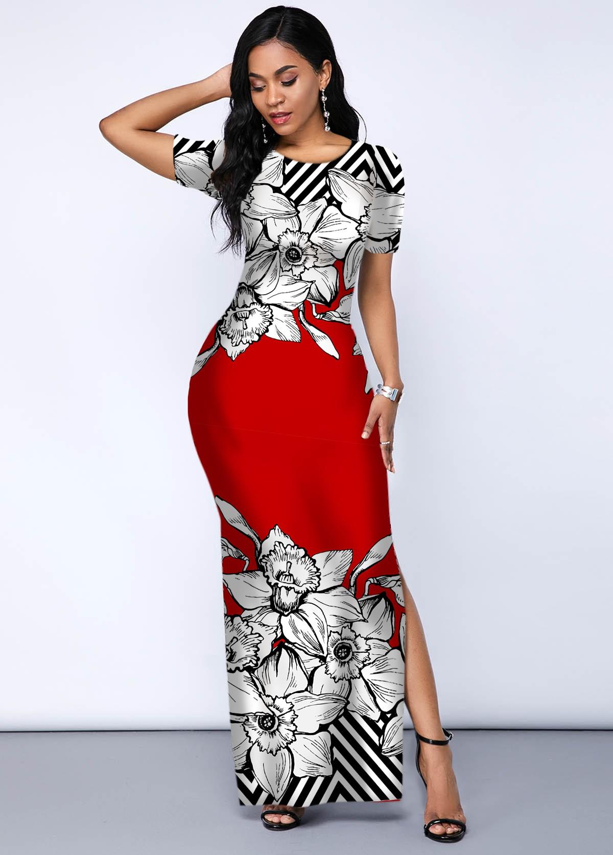 ROTITA Printed Contrast Side Slit Maxi Dress