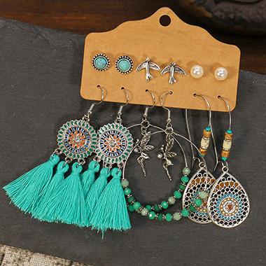 6 Pair Turquoise Tassel Metal Detail Earrings