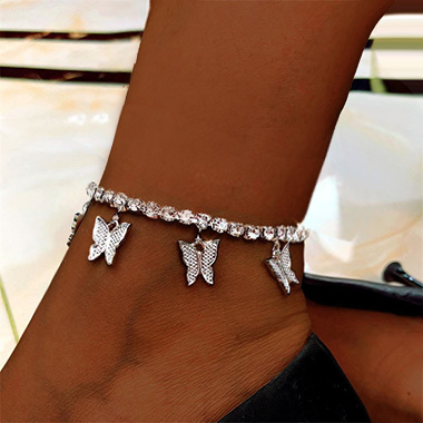 Butterfly Design Silver Rhinestone Detail Anklet
