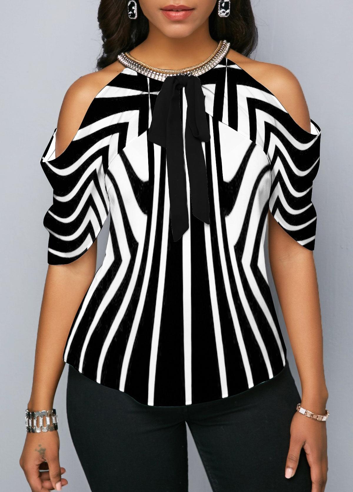 ROTITA Striped Embellished Neck Cold Shoulder Blouse