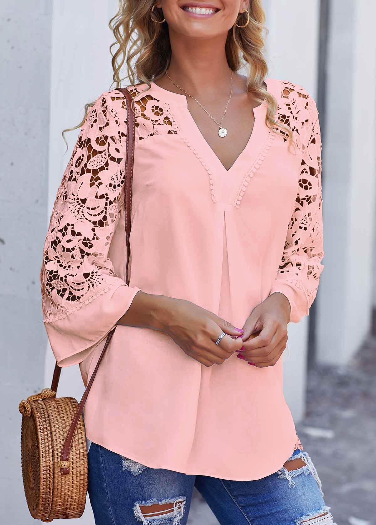 ROTITA Lace Stitching Pink Split Neck Blouse