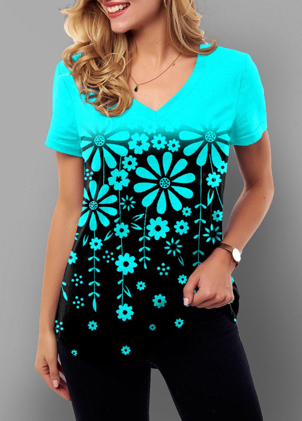 ROTITA Ombre Short Sleeve Floral Print T Shirt
