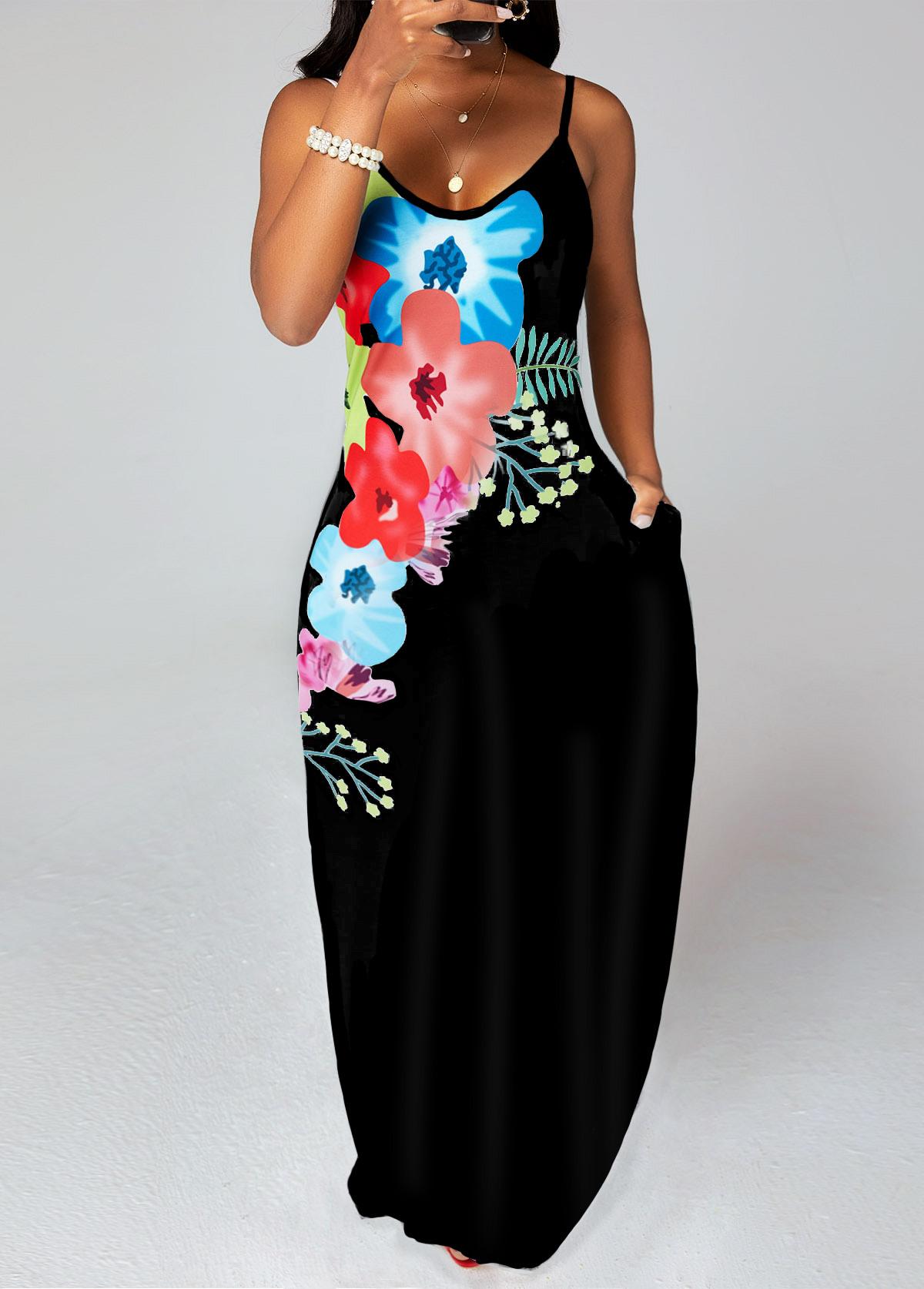 ROTITA Floral Print Double Pockets Maxi Dress