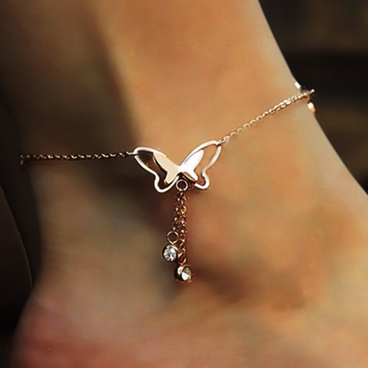 Rhinestone Detail Butterfly Deaign Hollow Out Anklet