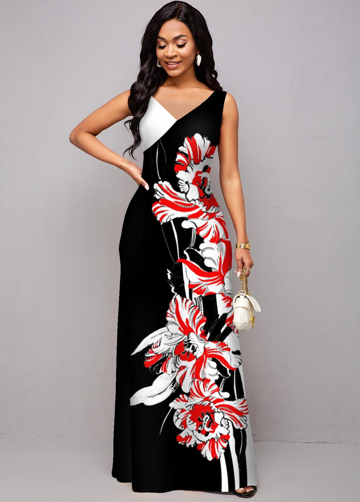 ROTITA Floral Print V Neck Wide Strap Dress