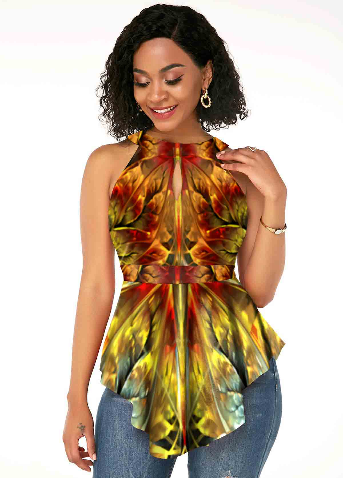 ROTITA Keyhole Printed Sleeveless Asymmetric Hem T Shirt