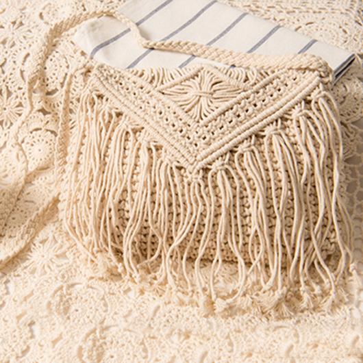 Knitted Design Tassel Detail White Crossbody Messenger Bag