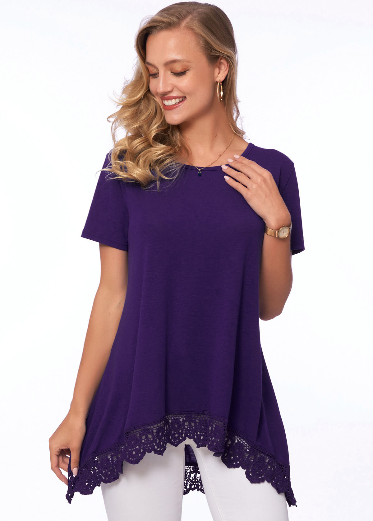 Lace Stitching Asymmetric Hem Short Sleeve T Shirt
