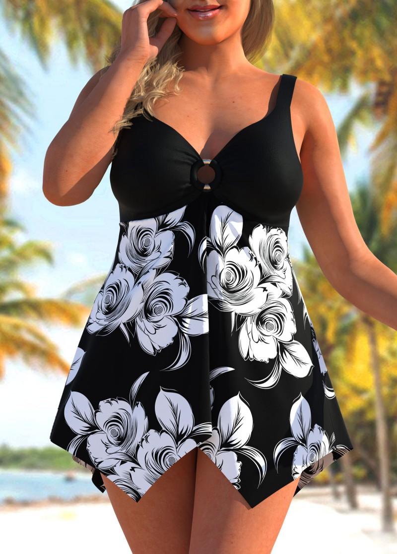ROTITA Floral Print Plus Size Asymmetric Hem Swimdress and Shorts