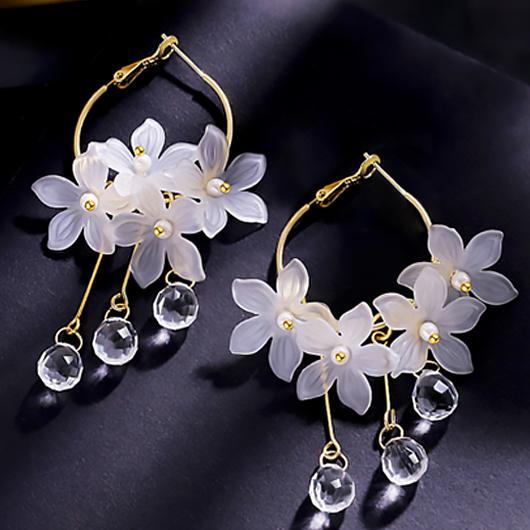Metal Detail Crystal Floral Design Earring Set