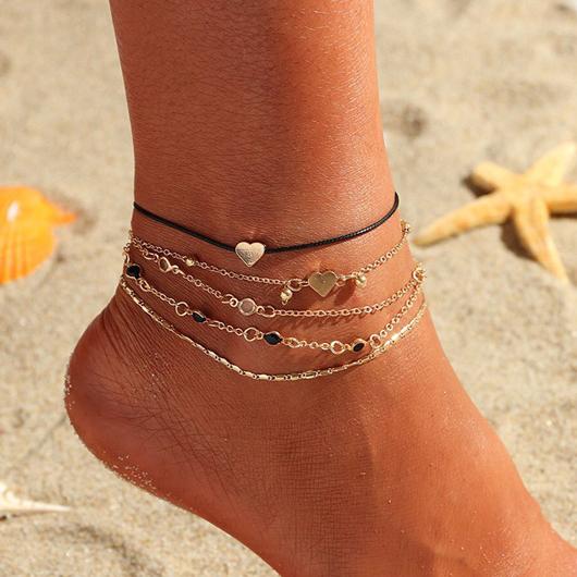 Gold Heart Design Metal Detail Anklets