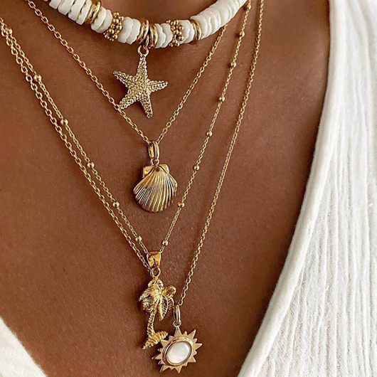 Layered Design Starfish Shell Detail Necklace