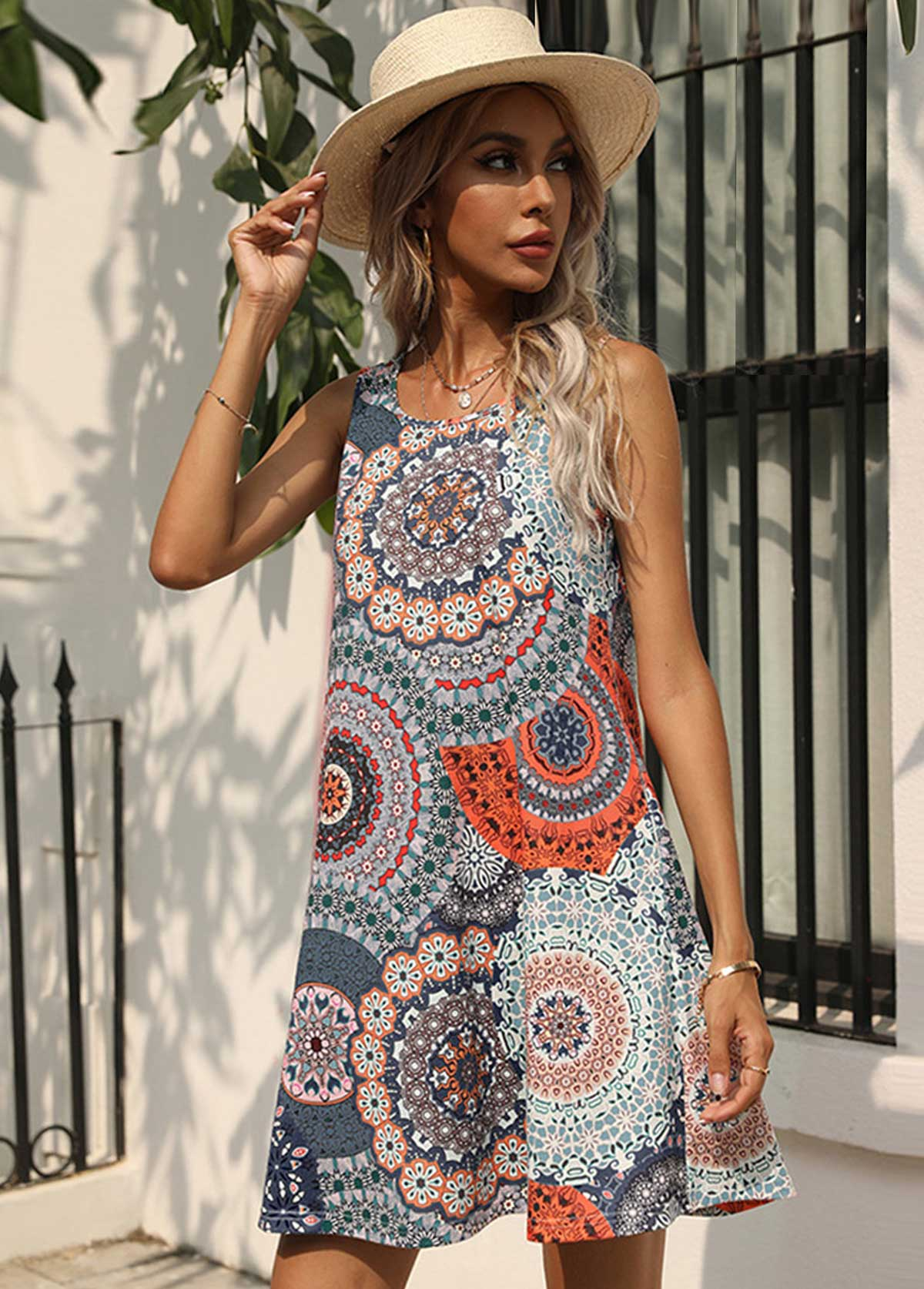 Printed Sleeveless Round Neck Double Pocket Dress