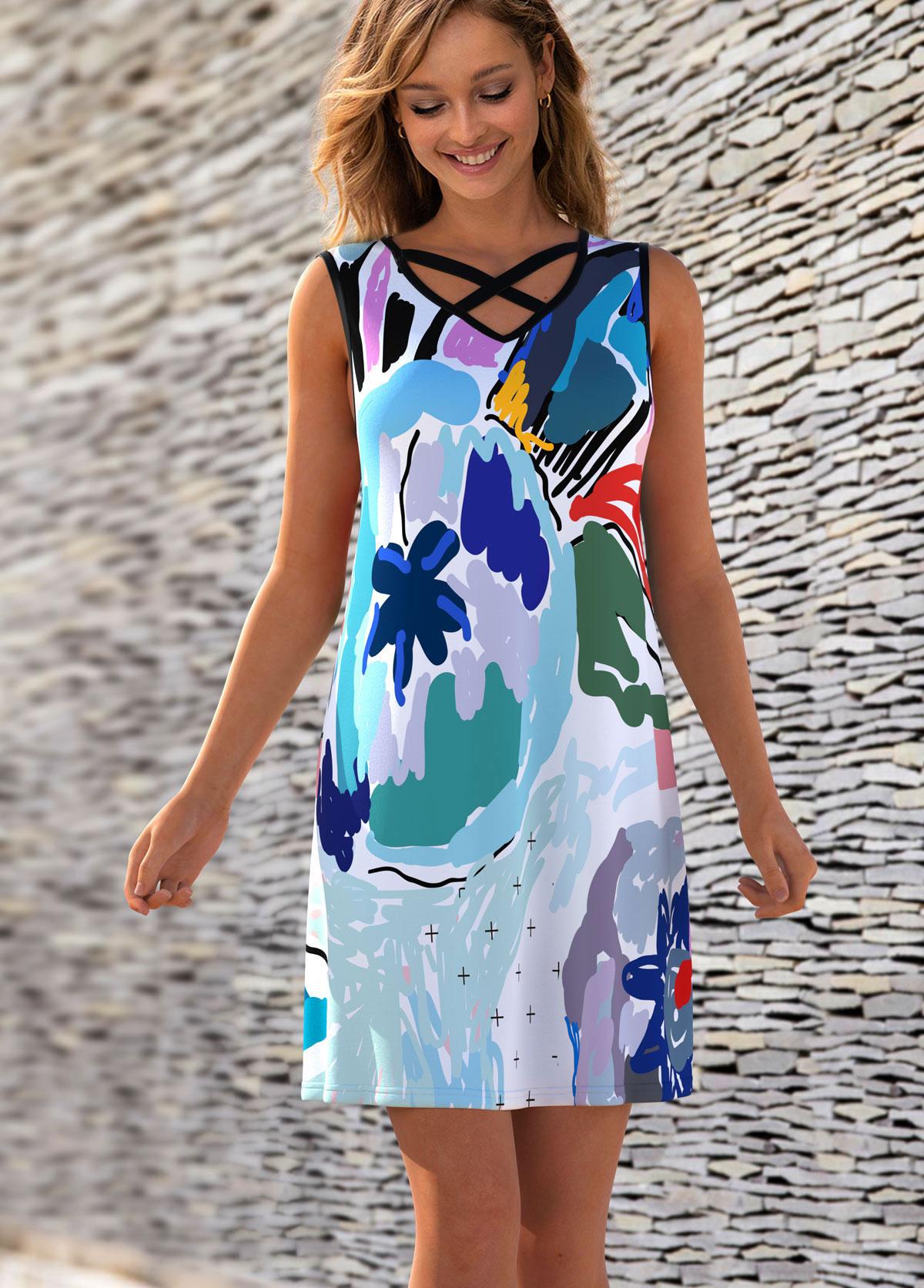 ROTITA Cross Strap Printed Sleeveless V Neck Dress