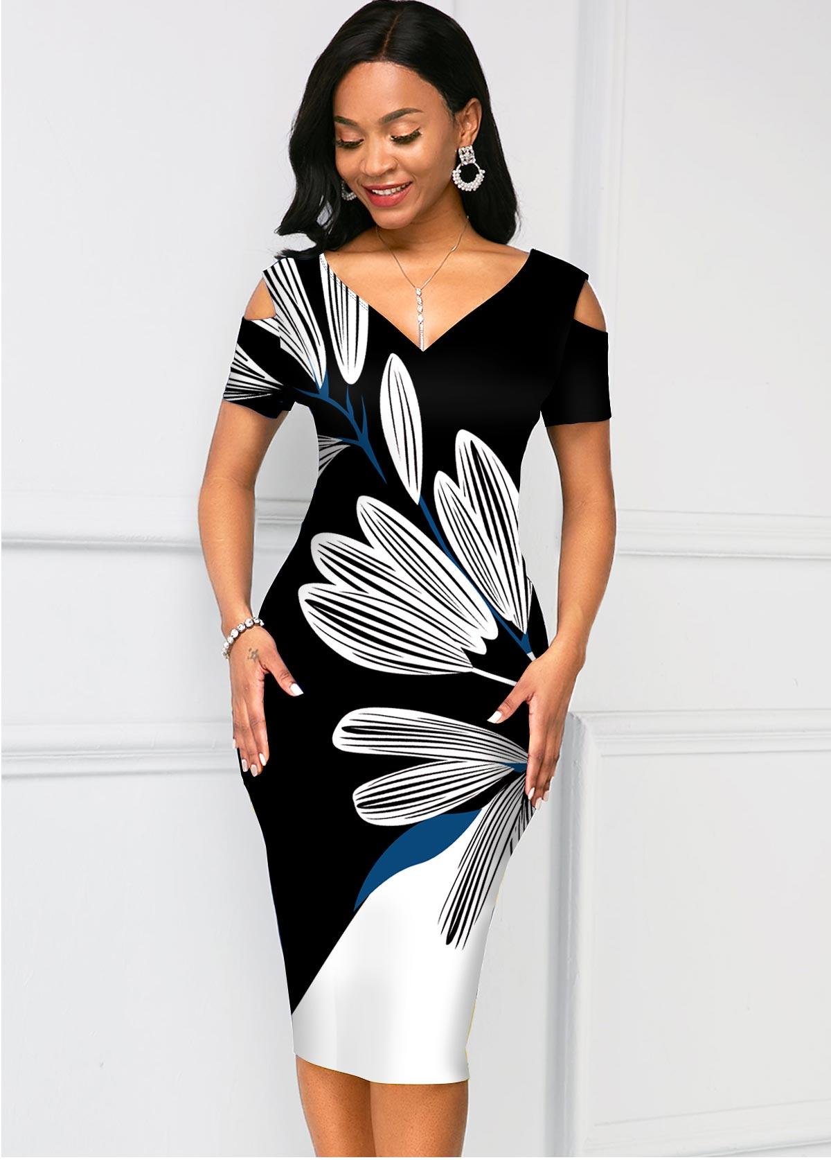 ROTITA Contrast Floral Print V Neck Bodycon Dress