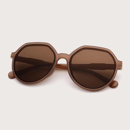 1 Pair Round Frame Brown TR Sunglasses