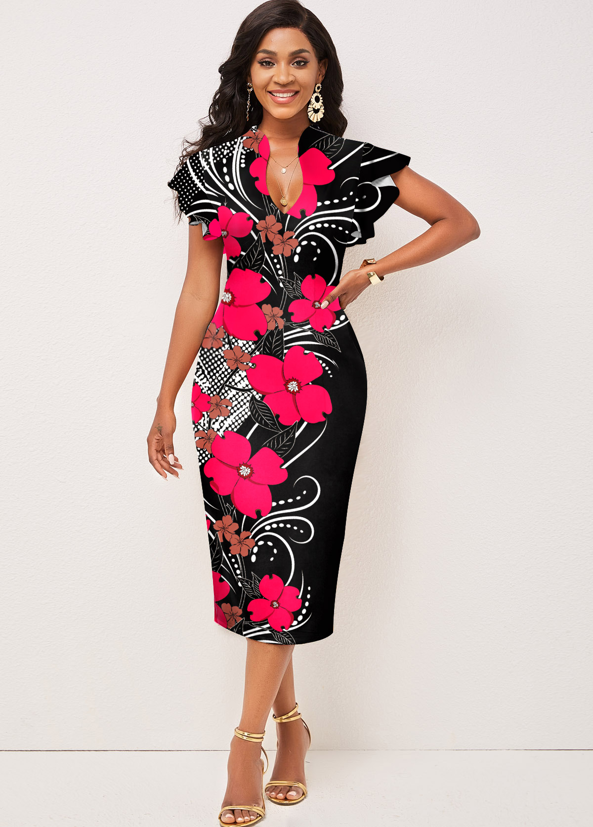 ROTITA Floral Print Contrast Short Sleeve Dress