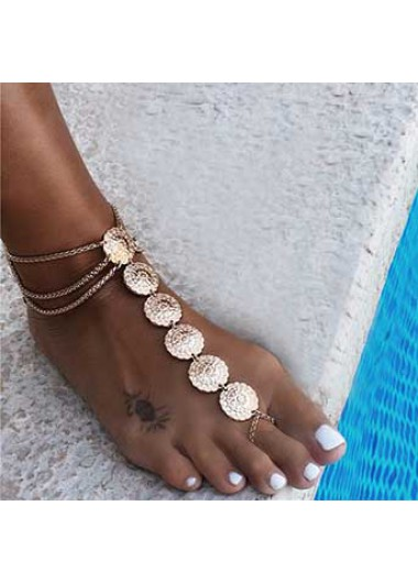 Metal Detail Gold Layered Design Anklet