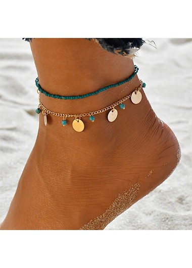 Turquoise Beads Design Metal Detail Anklets