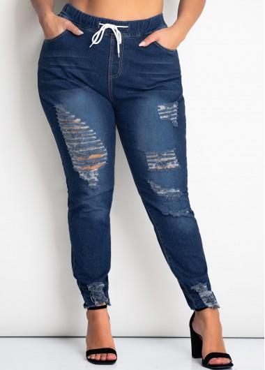 Double Pocket Shredded Plus Size Pants