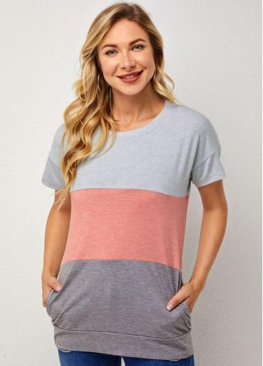 Double Pocket Contrast Short Sleeve T Shirt
