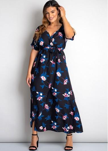 Plus Size Floral Print Belted Short Sleeve Dress
