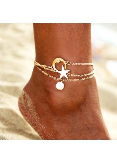 Metal Moon Sar and Pearl Detail Anklets