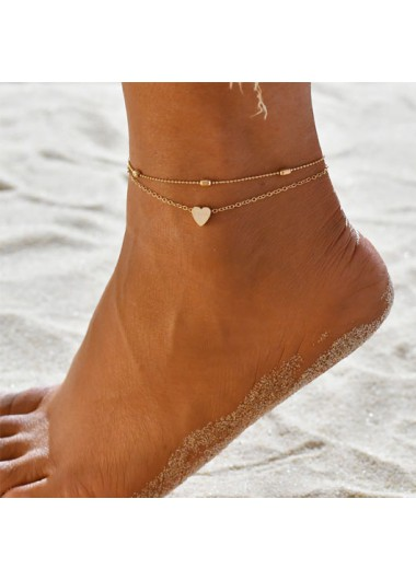 Metal Detail Layered Gold Heart Design Anklet
