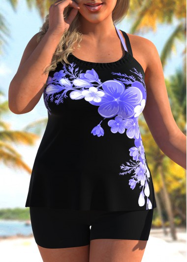 Rotita Floral Print Plus Size Cross Strap Tankini Set