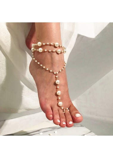 White Pearl Detail Layered Design Anklet