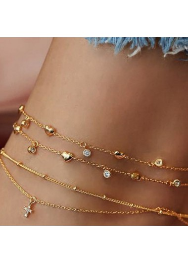 Rhinestone Heart Design Layered Gold Anklet