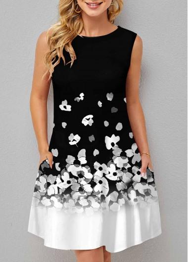 ROTITA Double Pocket Sleeveless Floral Print Dress