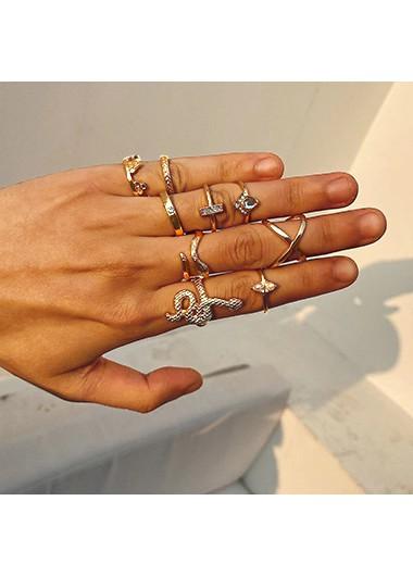 Metal Detail Gold Snake Design Rhinestone Rings