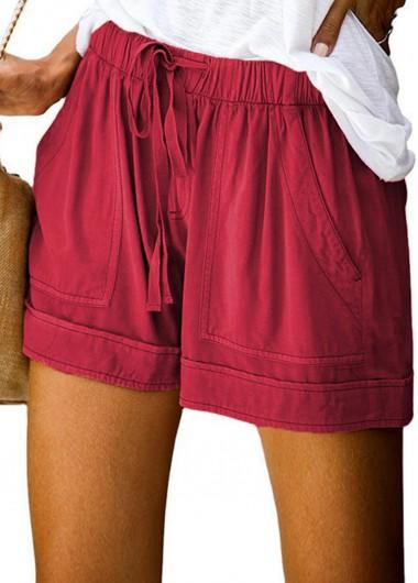 Solid Drawstring Waist Double Pocket Shorts
