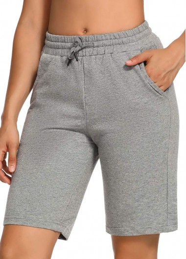 ROTITA Solid Drawstring Waist Double Pocket Shorts