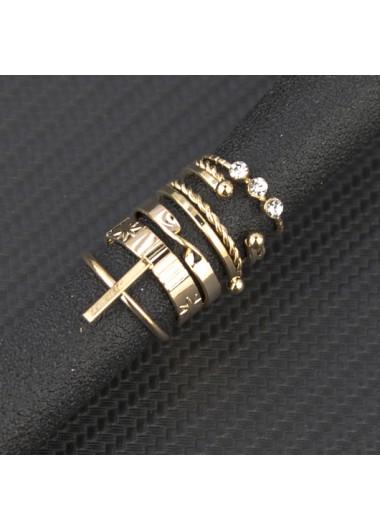 C Shape Gold Rhinestone Detail Rings