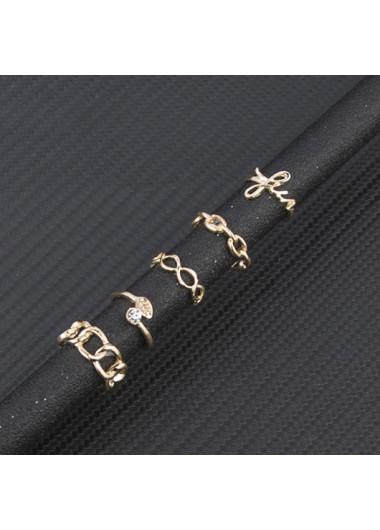 Metal Detail Gold Chain Design Rings