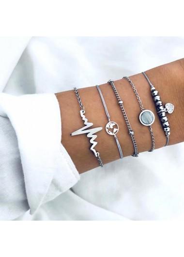 Silver Electrocardiogram and Map Design Metal Detail Bracelets