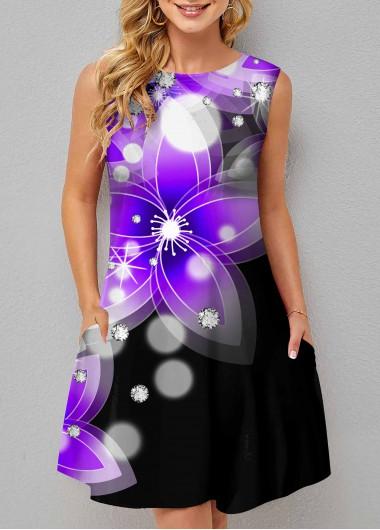 ROTITA Floral Print Double Pocket Sleeveless Dress