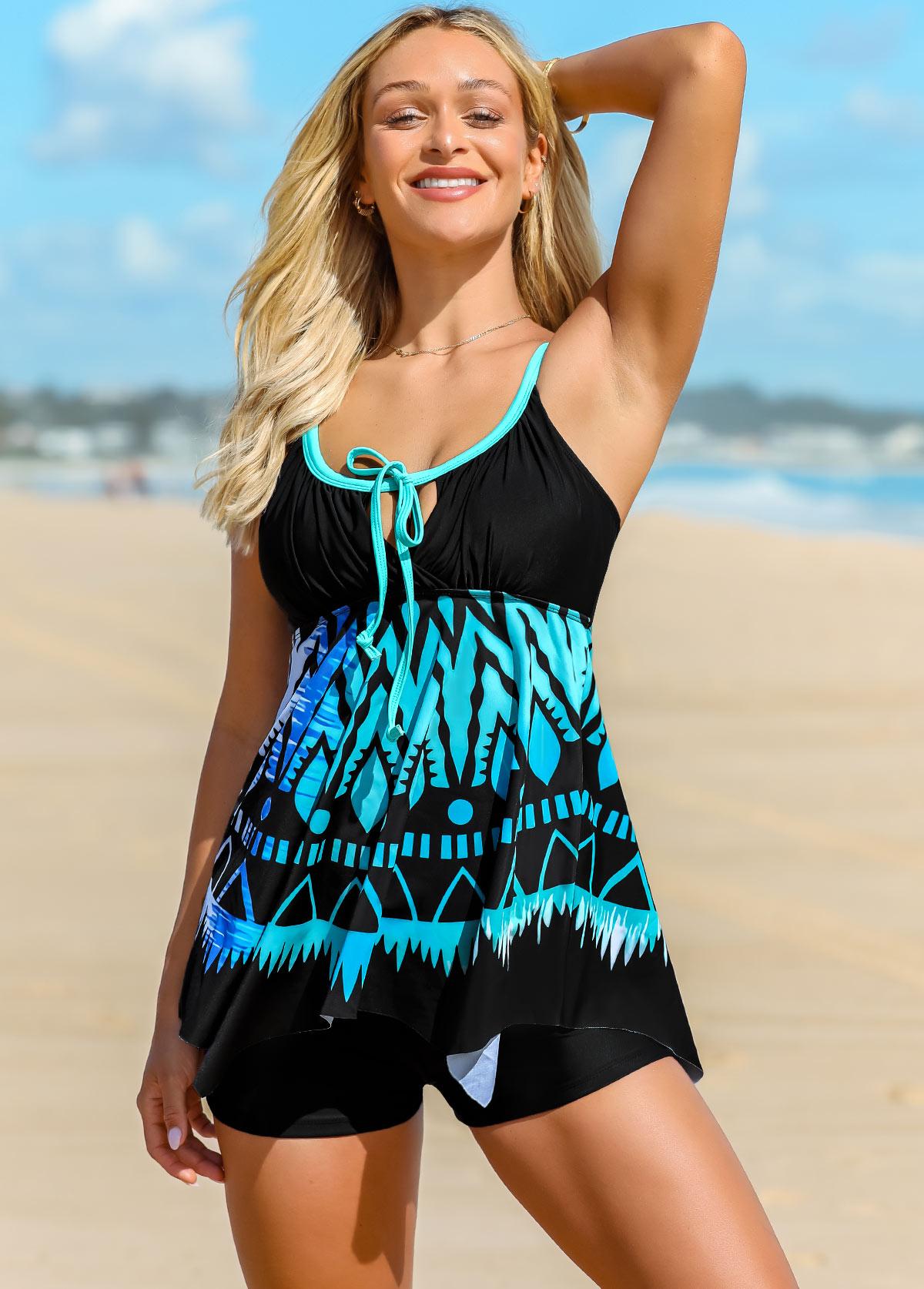 ROTITA Geometric Print Tie Front Swimdress and Shorts