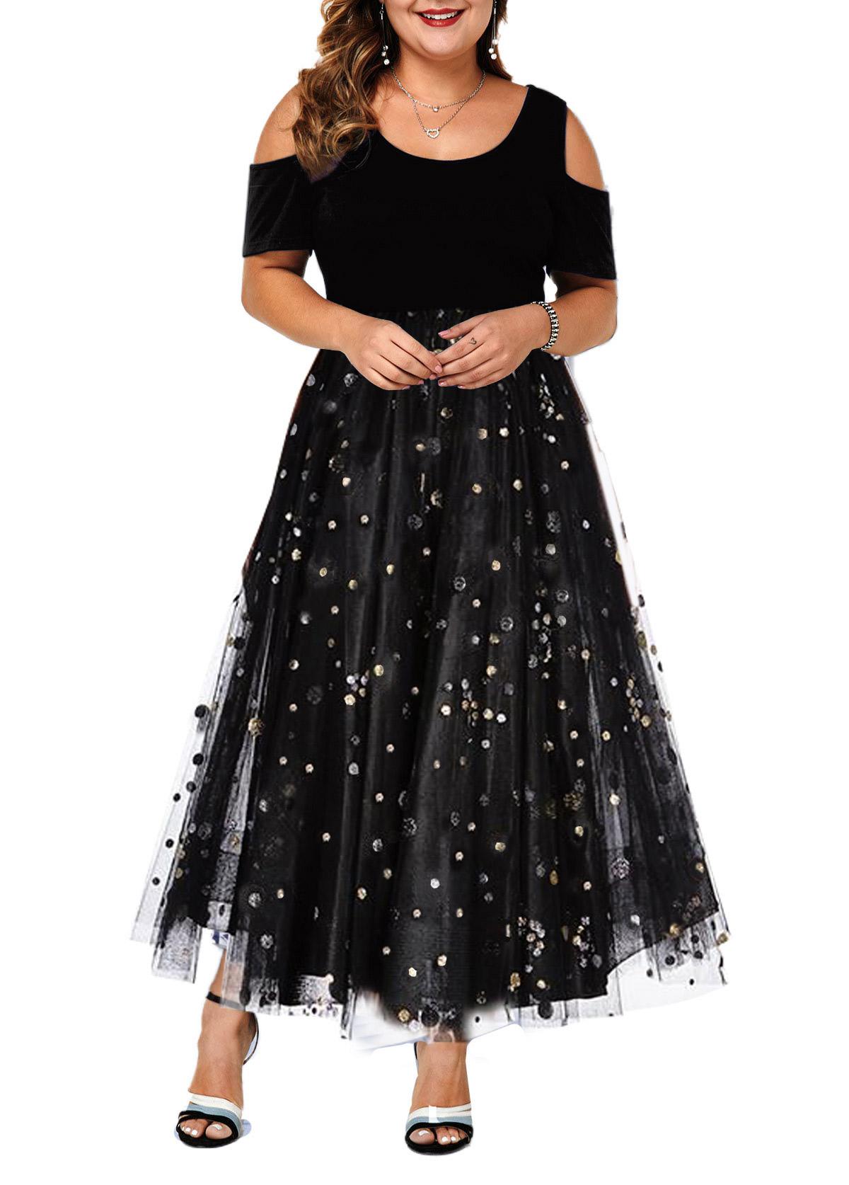 ROTITA Plus Size Cold Shoulder Sequin Mesh Dress