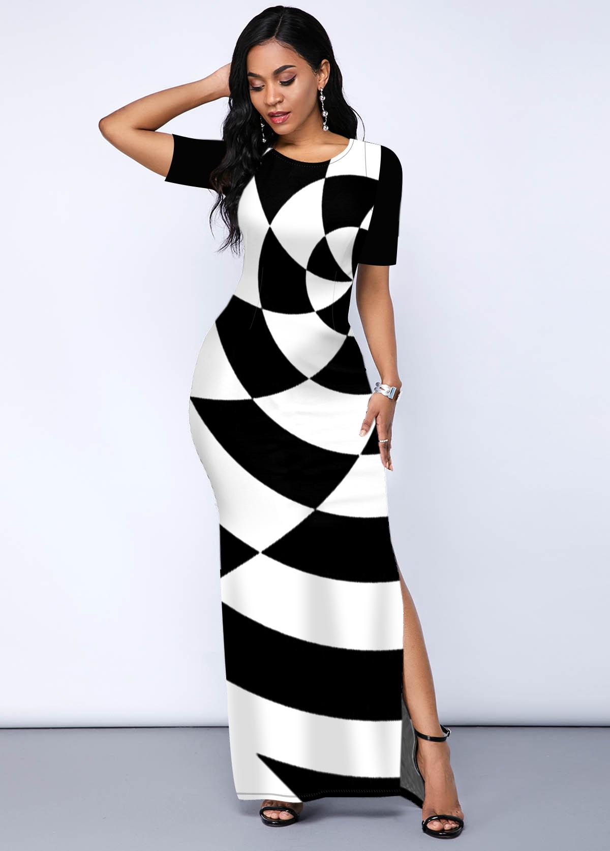 ROTITA Side Slit Geometric Print Round Neck Dress