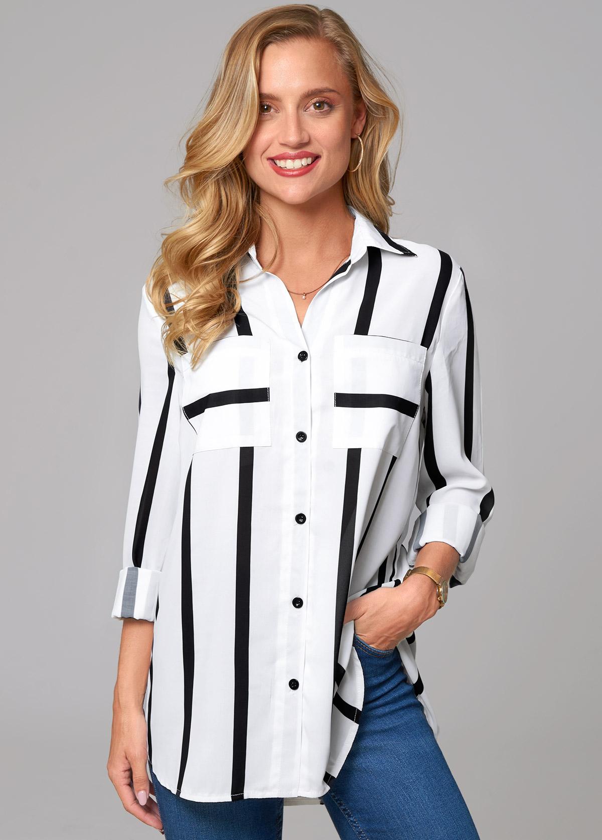 ROTITA Double Pocket Striped Turndown Collar Blouse