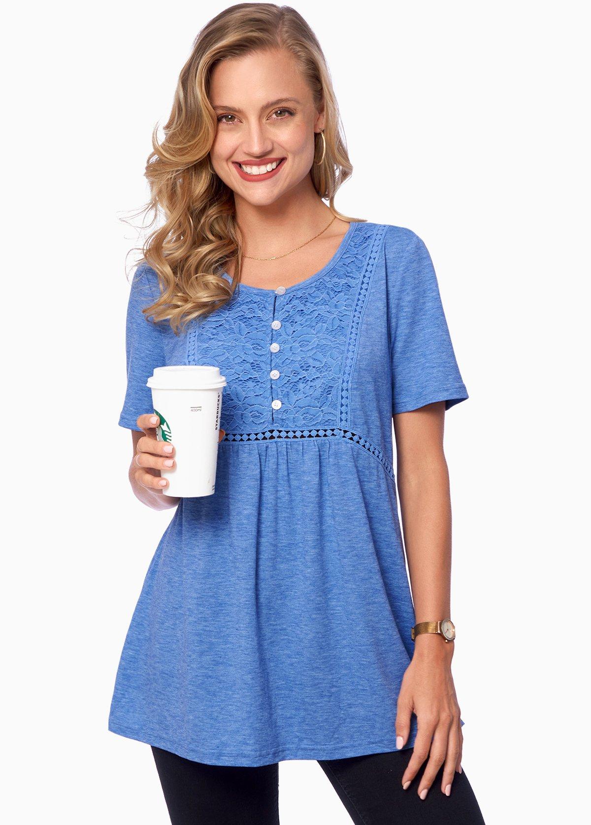 ROTITA Short Sleeve Lace Stitching Button Detail T Shirt