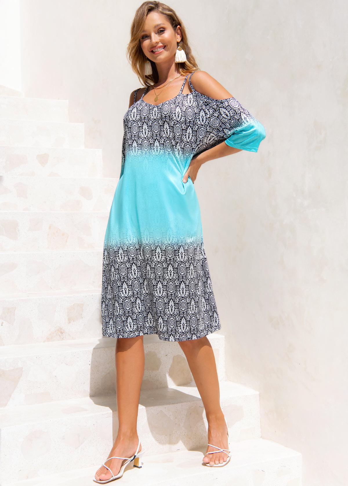 Cold Shoulder Printed 3/4 Sleeve Dress