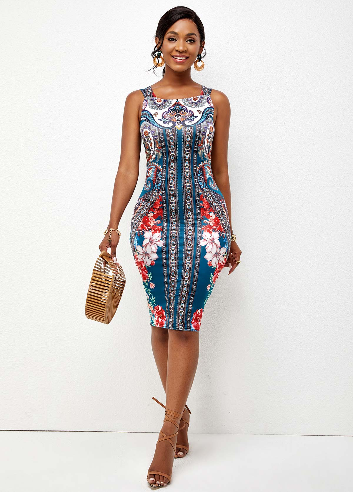 ROTITA Wide Strap Tribal Print Bodycon Dress